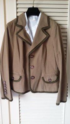 MARC JACOBS 黑標 摩卡棕 重磅純棉牛角扣騎士風西裝外套 原價$48500