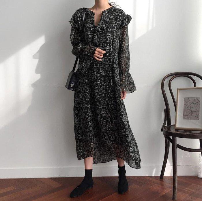 【2A Two】韓👉顯瘦飄逸時尚⚈點點⚆荷葉邊⌒連身裙『381013009』