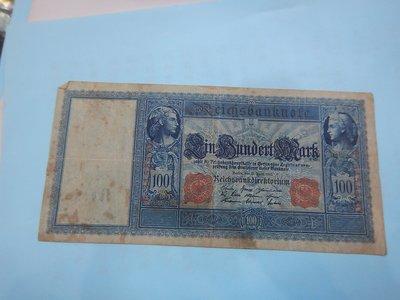 ☆孟宏館☆德國舊馬克1908年100馬克~紙鈔鈔票~D093
