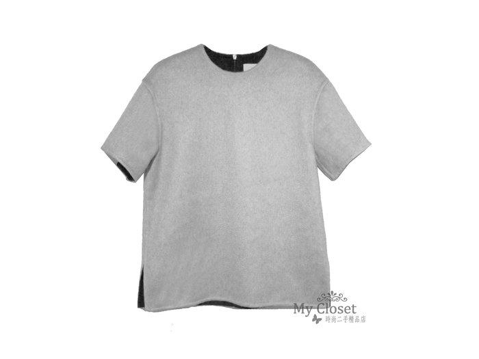 My Closet 二手名牌 JASON WU 全新淺灰x黑雙面料 100% Cashmere 短袖上衣
