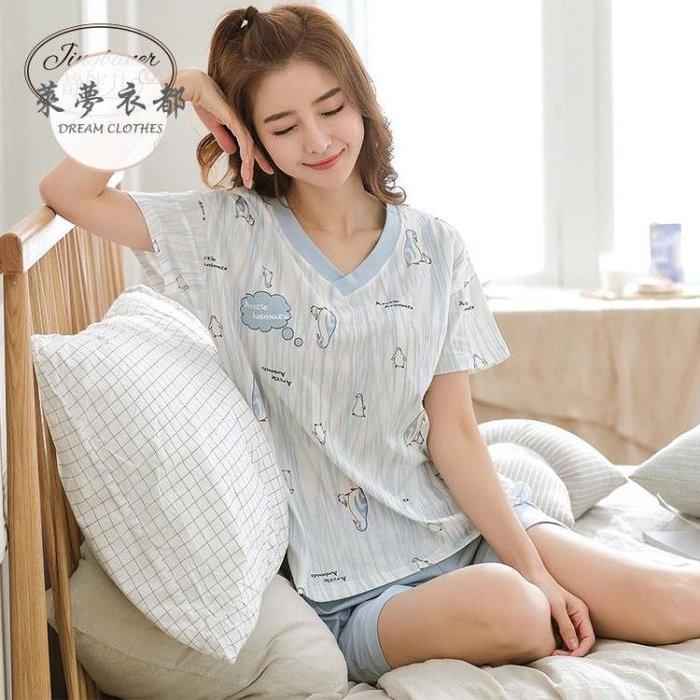 睡衣新款睡衣女夏棉質短袖韓版可愛薄款寬鬆可外穿兩件套家居服套裝