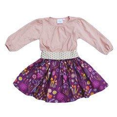 美國舊金山設計師童裝品牌 Ele Story Ballet Plum Fairy 高質感有機棉紫色花園拼色洋裝 3T