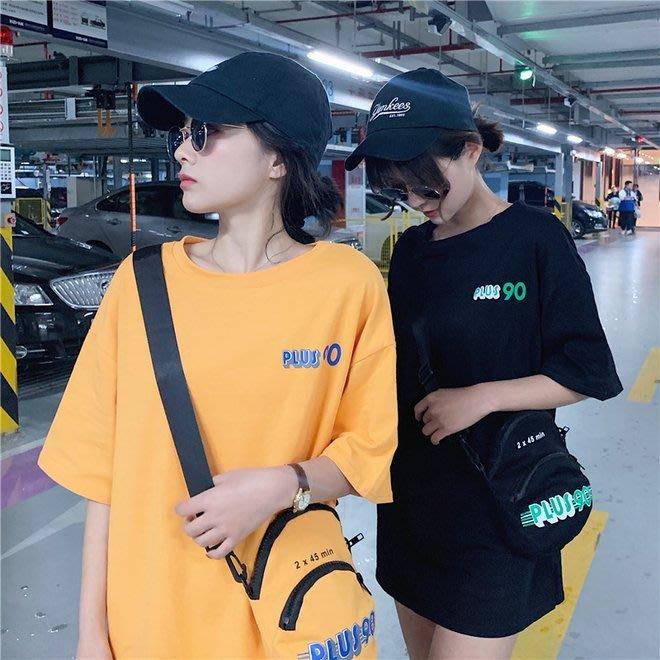 FINDSENSE G6 韓國時尚潮流 2019夏季新款字母復古圓領T恤短袖前後印花短袖T恤寬鬆