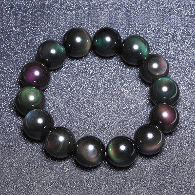 【柴鋪】特選  墨西哥彩虹雙眼黑曜石手鍊  顆顆雙眼   16mm圓珠 男款 (G1-5)