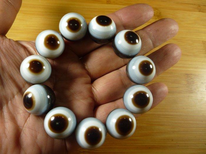 高端訂製品【珠添神聖】20mm天眼珠   顆顆正開眼  天珠手鍊~附檀香油收藏絨布袋~5A2
