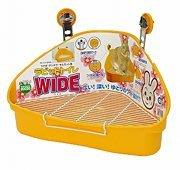 Marukan小動物 高邊 加寬 加大 防污底網 兔便盆 貂便盆 鼠便盆 兔廁所 MR-314橙黃,每個400元