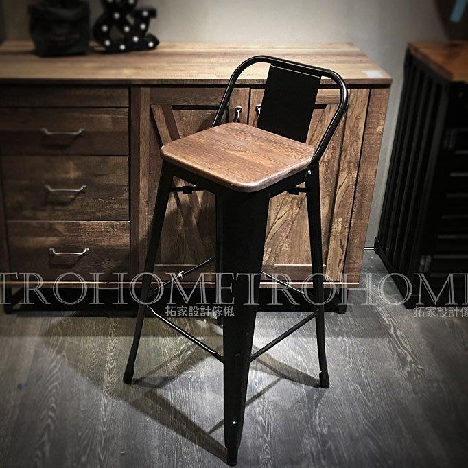 【拓家工業風家具】實木椅墊全鐵吧台椅/美式復古軟墊有背吧檯椅高背高腳椅寫字椅餐椅/LOFT咖啡店早餐店餐廳酒吧民宿