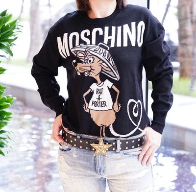 Moschino Rat-A-Porter longline wool jumper 老鼠毛衣 黑 現貨