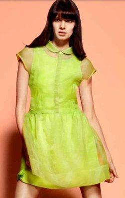 Meico Fashion 美可時尚 H&M 耀眼焦點時尚螢光綠微透感洋裝 (現貨) Sale~