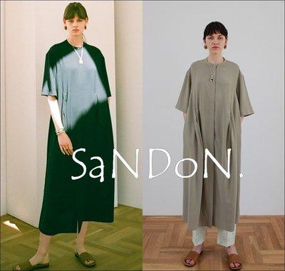 山東:CLANE官網完售系列SLANT TUCK A-LINE OP/A字設計打摺鈕扣設計罩衫外套OP洋裝 200707