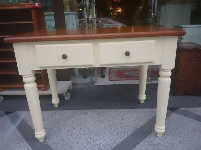 鄉村風橡木雙色書桌