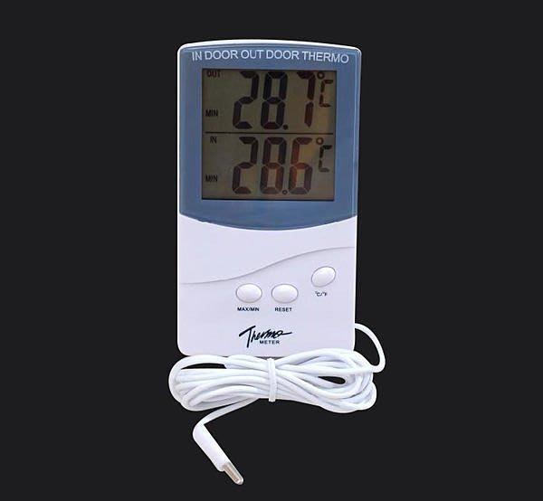 全新 電子 雙溫度計 LCD顯示 外置2米防水 溫度傳感器 室內外溫度計k20