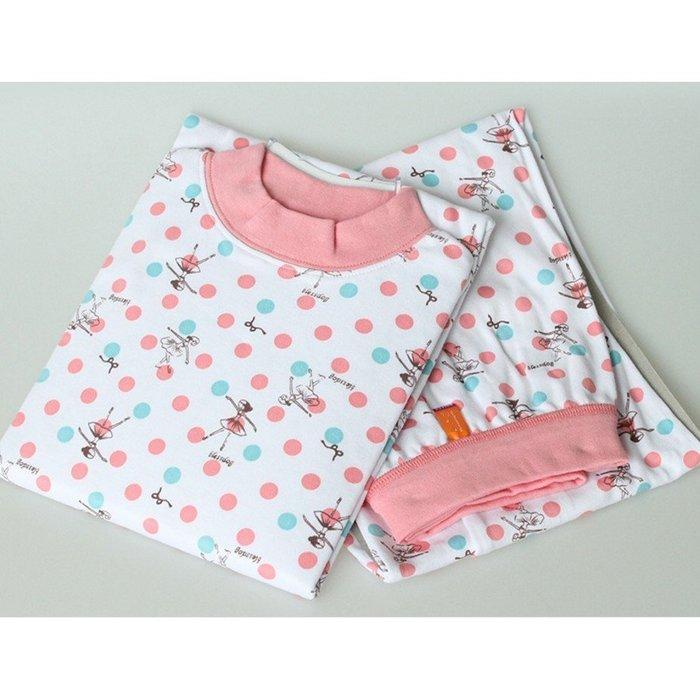 冷氣衫 女童芭蕾舞小女孩波點圓領套裝 睡衣 冷氣房 冷氣衫 居家服 可親子 120-175