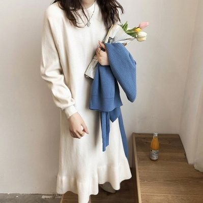 ☆ANGELA HOUSE☆韓單  溫柔氣質~韓國範顯瘦荷葉邊針織魚尾連身裙       ✅   (追加)
