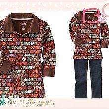 【B& G童裝】正品美國進口OLD NAVY塗鴉英文字咖啡色七分袖polo衫M號8-9yrs