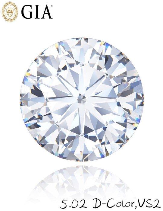 【台北周先生】極品 超大顆 天然白色鑽石5.02克拉 超乾淨VS2 國際GIA認證D-color 璀璨耀眼 鑽石圓切割