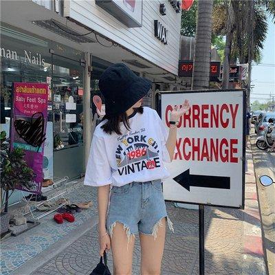 韓版上衣chic港味時尚韓版流行顯瘦新款春季寬松百搭撞色領印花短袖T恤女