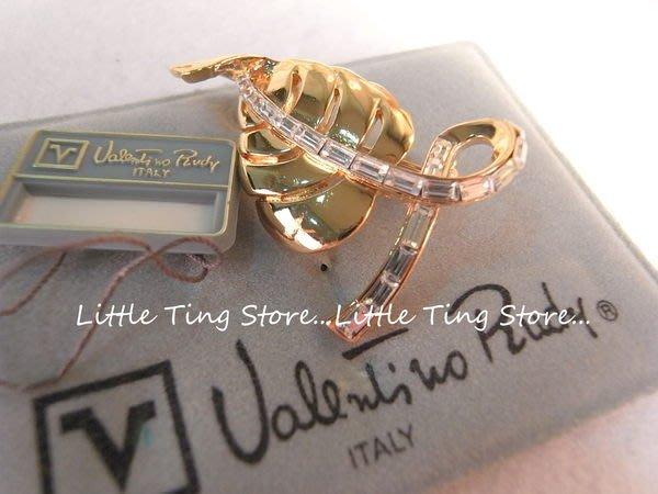 義大利古董珠寶VALENTINO (范倫鐵諾)古金色羽毛葉子別針鑲T水鑽胸針別針帽針