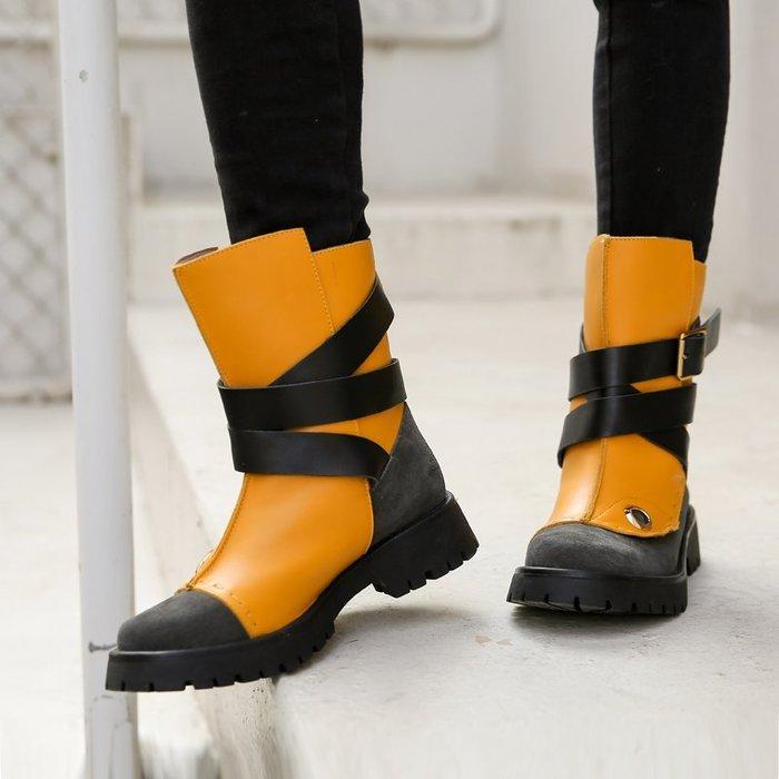 ~皮皮創~原創設計手工真皮馬丁靴。歐美風皮帶纏繞拼接撞色厚底短靴