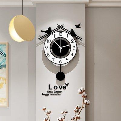 美世達北歐鐘表掛鐘客廳家用時尚現代簡約掛墻時鐘個性創意裝飾表小豬佩奇