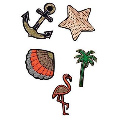 正品 H&M multi-pack patches 度假風刺繡補丁片[船錨、海星、貝殼、棕櫚樹、紅鶴]