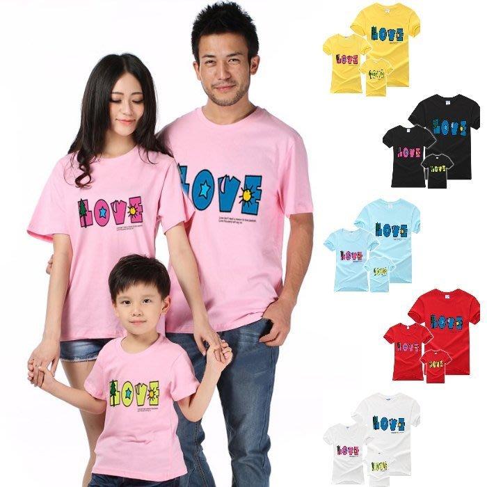 【甜蜜蜜~現貨出清】韓版YI-S30《彩色LOVE》短袖親子裝♥情侶裝 (J6-4)