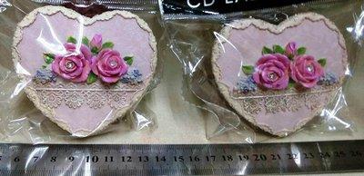 龍廬-自藏二手出清~波麗彩繪製品-仿蕾絲玫瑰花愛心造型置物盒A款/飾品盒/珠寶盒/起標為單個價/只有2個