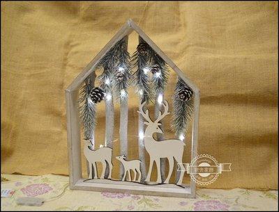 聖誕節 可愛白色屋型麋鹿燈飾 X'ma...