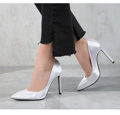 【明良精品】KML-666-5優質綢緞面+PU皮革/牛皮透氣內裡/尖頭高跟鞋【製作尺碼:35~46碼】