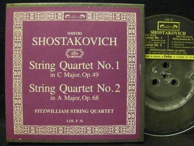 《7吋美版盤帶Reel Tape》古典*Fitzwillia弦樂四重奏--Shostakovich: String Quartets Nos.1&2*Decca