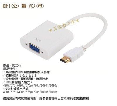 標準HDMI公轉VGA母 D-Sub轉接線 影像視訊轉換線 to 投影機HDCP 轉接器【玉蜀黍的窩】