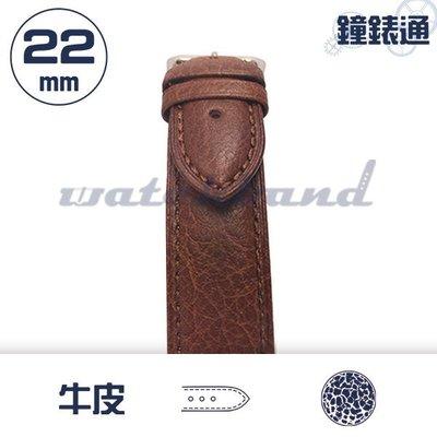 【鐘錶通】C1-03HR《簡約系列》荔枝紋-22mm 復古褐 /細車線錶帶/荔枝紋/牛皮錶帶/