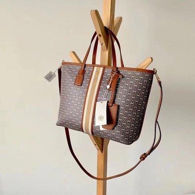 Alina精品代購 TORY BURCH 美國輕奢時尚 獨特外型設計帆布手提包 顏色3 購物袋  美國代購