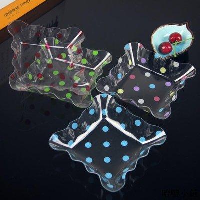 收納 特價小物 透明方形圓點果盤創意盤子客廳瓜子盤水果盤零食盤糖果盤批發單筆訂購滿200出貨唷