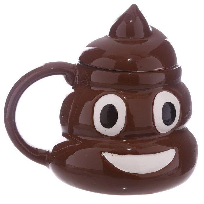 【奇滿來】創意陶瓷惡搞帶蓋深棕色3層大便杯 整人搞怪表情杯便便杯 生日禮品贈品咖啡杯馬克杯  AUBV