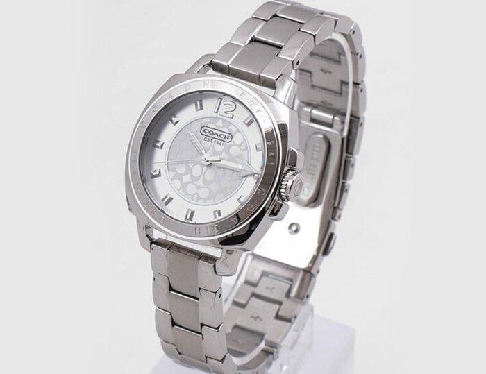 我愛名牌COACH包 美國100%正品【清倉低價出售購買兩件免運】14501535時尚C LOGO錶盤銀色商務女手錶