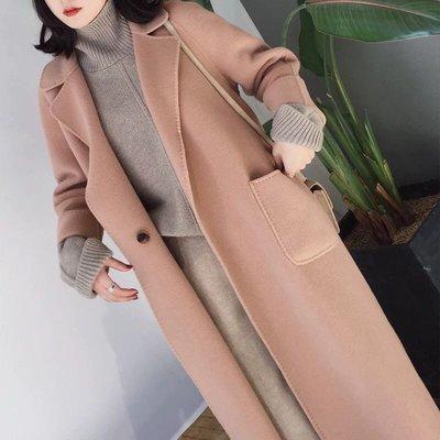 限量🔴韓國雙面羊毛奶油杏色 2WAY烘針大衣外套ㄴSL0100ㄱ手工縫製