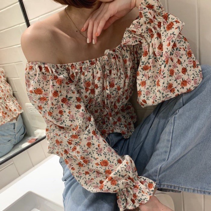 【蜜小姐】ᴋᴏʀᴇᴀ❤️ 法式浪漫 伸縮平口綁帶顯瘦碎花雪紡衫