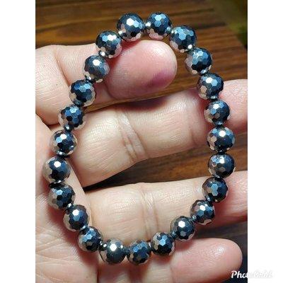 太赫茲 鈦赫茲 手鍊 手環 8mm+ 閃亮刻面珠 天然❤水晶玉石特賣#C018