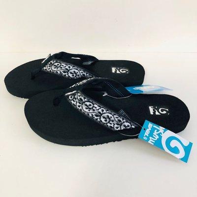 《現貨》美國 TEVA 女生拖鞋 記憶拖鞋 Mush 尺寸US6(超輕量 經典緹花織帶夾腳拖鞋-圖騰黑)