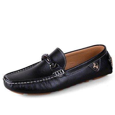 日和生活館 新款男士豆豆鞋真皮休閒鞋潮流駕車男鞋 134D88