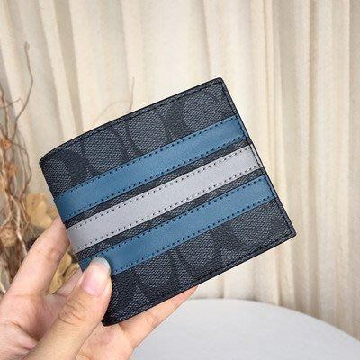 【八妹精品】COACH  37944 新款PVC配皮條紋拼色時尚男士短夾 錢包 錢夾 男夾