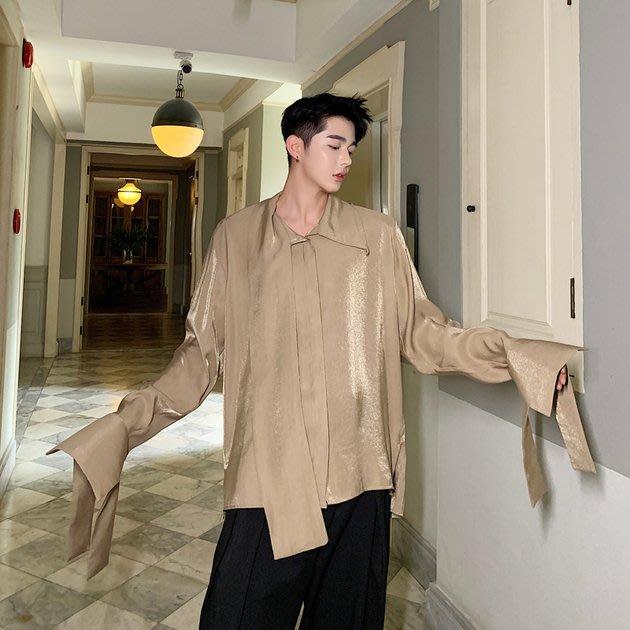 FINDSENSE 2019 秋季上新 G19 反光袖口綁帶長袖襯衫 素面襯衫 男裝 上衣