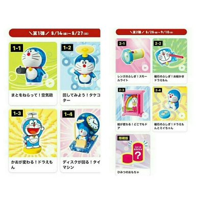 賠售/不議價~日本 麥當勞《哆啦A夢》50週年 快樂兒童餐「哆啦A夢 令人興奮的科學」玩具/公仔【款式隨機,無紙盒,塑膠袋裝】~隨機3款$250元~現貨