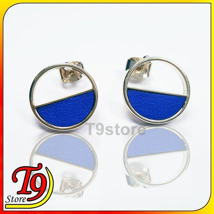 【T9store】韓國製 圓形半鏤空貼耳式耳環
