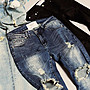 【MASS】BLACK FLAG 17SS DAMAGED DENIM 窄版破壞褲 水洗 刷色 破壞 刷鬚