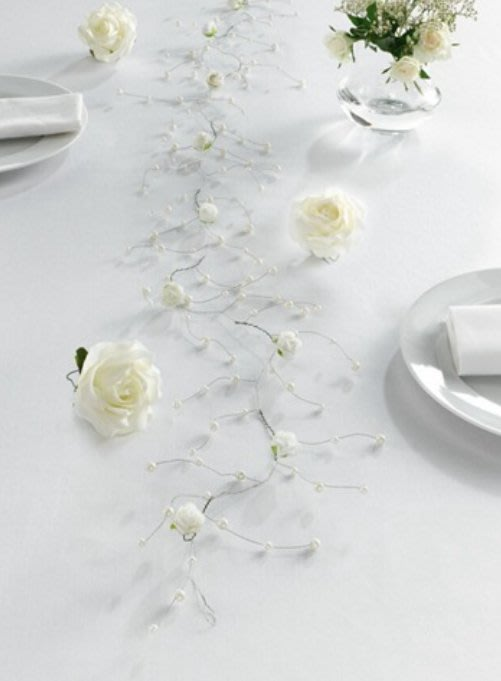 ~誠萍生活傢俱~白色仿珍珠配玫瑰花藤條裝飾 禮物緞帶  桌面裝飾 盆栽裝飾 婚禮裝飾  直購價$160元