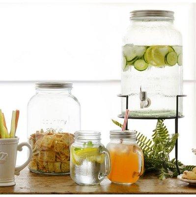 [ Atelier Smile ] 鄉村雜貨 美式玻璃冰桶 酒桶 飲料桶 野餐 派對 5.5公升不鏽鋼水龍頭+不鏽鋼蓋