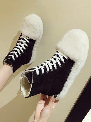 女靴內增高女靴白色女靴子潮牌女靴大尺碼女靴精品女靴棉鞋女冬新款韓版百搭系帶高幫加絨毛毛鞋外穿平底短筒雪地靴