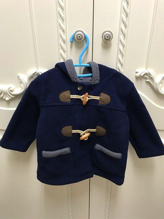日本Uniqlo 毛料深藍色連帽類牛角扣大衣/90